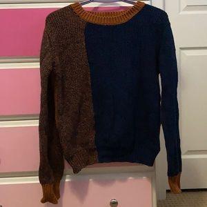 Joe fresh knit navy brown orange sweater